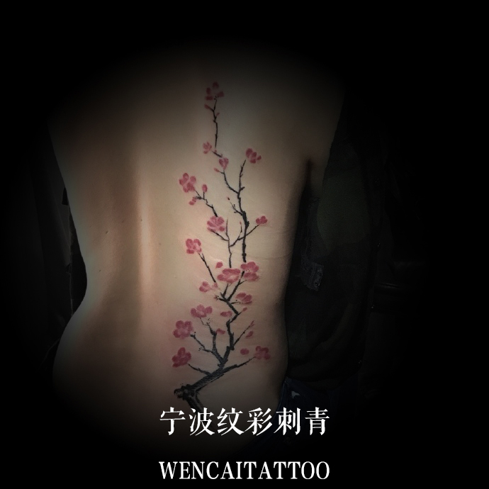 宁波的吉小姐后背梅花纹身图案