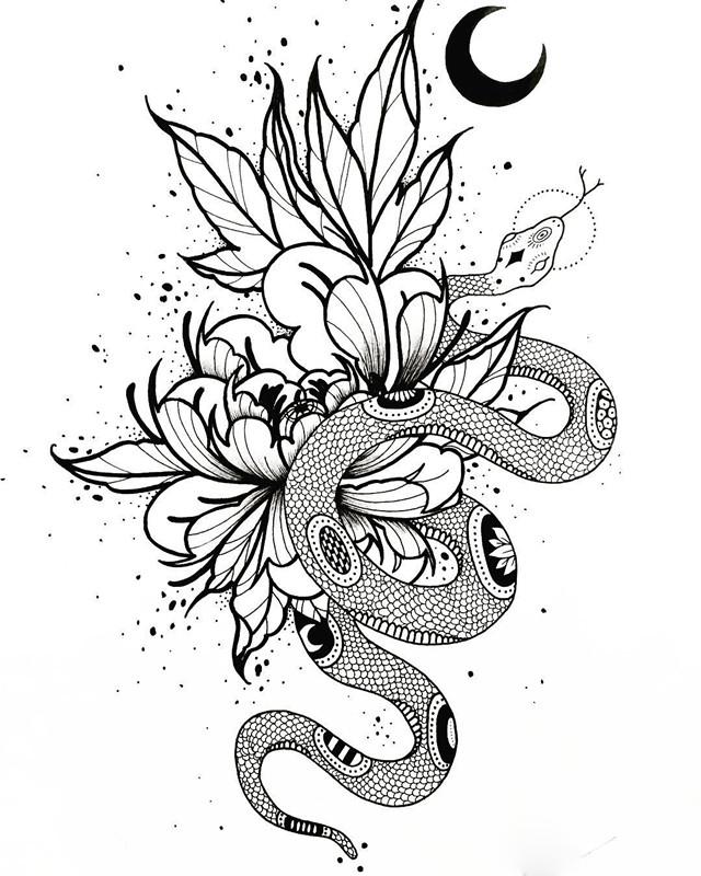 季先生牡丹蛇月亮纹身手稿