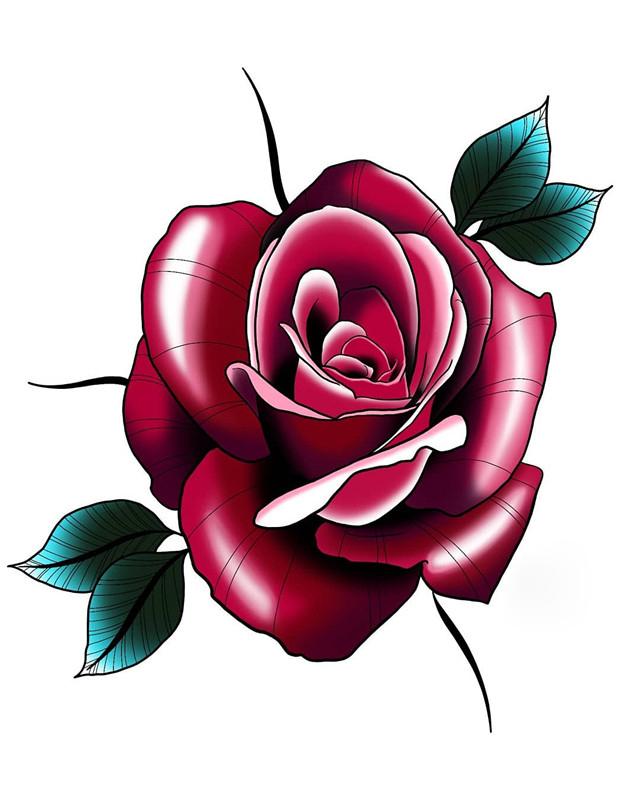 某鲜花店老板符小姐玫瑰纹身手稿图片
